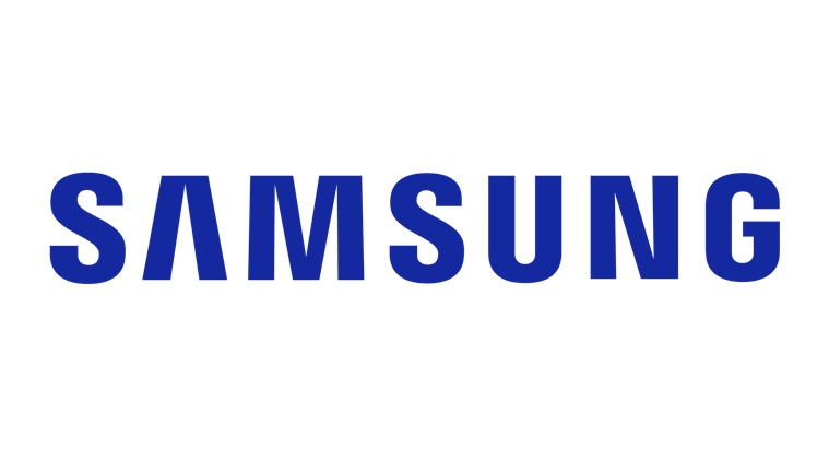 Blue Samsung company logo for page about technology partners